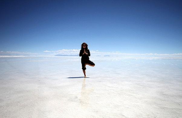 Yoga Jill on the Bolivian Salt Flats