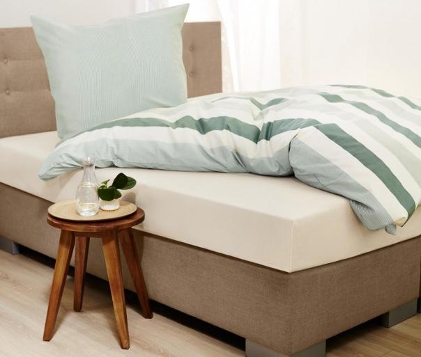 Tchibo - Jersey-Spannbettlaken, für Matratzen von 180 x 200 bis 200 x 200 cm, creme