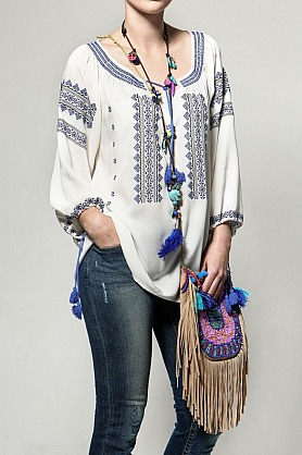 BlueFireCo - Blue Fire Bluse - Eivissa embroidered