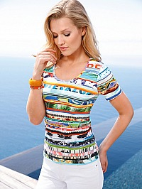 Peter Hahn: Rundhals-Shirt im Ibiza-Look Rundhals-Shirt multicolor