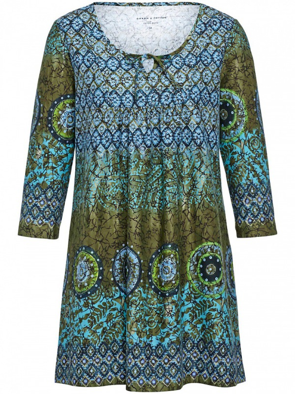 Peter Hahn: Green Cotton Shirt - Tunika-Stil - Dunkelpetrol-Multicolor