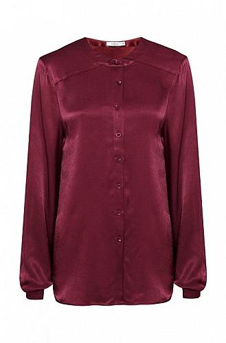 KALA Fashion: Dunkelrote, schimmernde Bluse aus Viskose