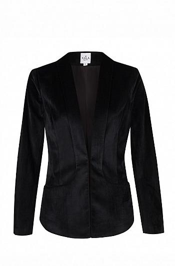 KALA Fashion: Samt-Blazer mit Schalkragen in Schwarz