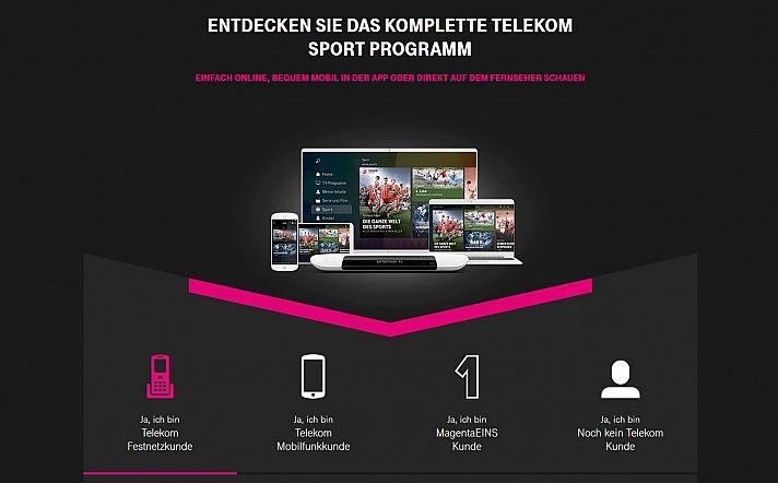 Auf allen Geräten zu erleben: das Telekom Sportpaket
