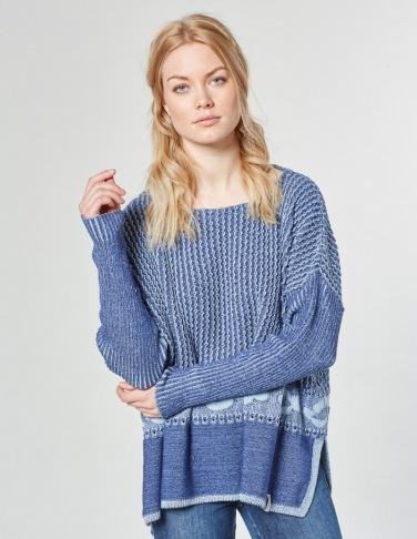 Deerberg Ajour-Oversized-Pullover Wedis, tintenblau