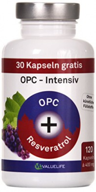 OPC Kapseln Intensiv Traubenkernextrakt + Resveratrol. VERGLEICHSSIEGER 2017* Antioxidant Komplex hochdosiert. Keine Zusätze. 120 vegane Kapseln. Geprüfte Markenqualität mit Zertifikat