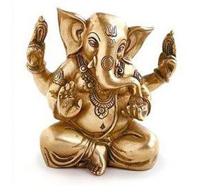 Deko Figur Gamesha Figur vierarmig sitzend, Statue aus Messing Höhe 14,5 cm groß, Hindu Gott Buddha Indien Asien Elefantengott Ganesh Elefant