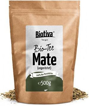 Matetee BIO 500g -ungerösteter grüner Mate Tee - Koffeinhaltige Yerba Mateblätter - Wiederverschließbarer Aromafrische-Beutel - Verpackt und kontrolliert in Deutschland (DE-ÖKO-005)