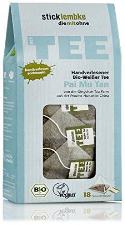 stick lembke/Pyramidenbeutel/Handverlesener BIO Weißer Tee/Pai Mu Tan/6er Pack (6 x 27g)