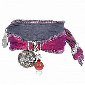 Anisch de la Cara: Sternzeichen Armband Widder - aus Saris mit rotem Jaspis