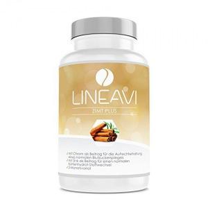 LINEAVI Zimt Plus, hochdosiert mit 400mg Zimt, 7mg Zink, 100µg Chrom pro Tag, Blutzuckerspiegel, Stoffwechsel, Gewichtsabnahme, Haut, Haare, in Deutschland hergestellt, 180 Kapseln (3-Monatsvorrat)