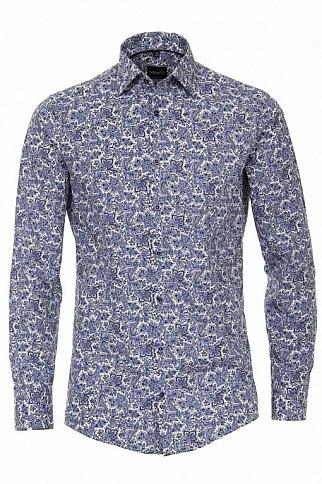 Highleytall: Venti Modern Fit Hemd - Paisley Blau