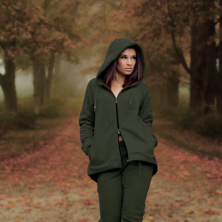 Lieb Ju: Loungewear Jacke Oliv