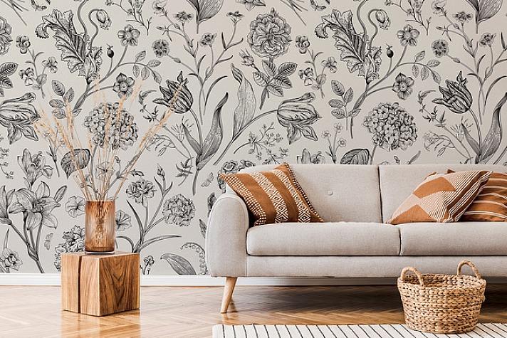 Blumen-Fototapete im Wohnzimmer
