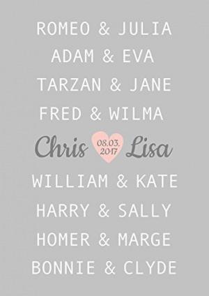 Kunstdruck ungerahmt, Traumpaar Liebe, Hochzeitsgeschenk, berühmte Paare, Geschenkidee personalisiert, Jahrestag, Gastgeschenk