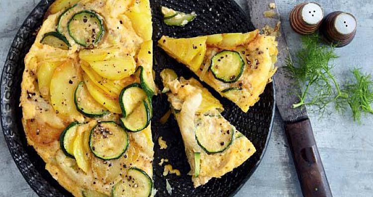 rezept gemuese tortilla hauptgericht mit zucchini manchego knoblauch fenchel vegetarisches. Black Bedroom Furniture Sets. Home Design Ideas