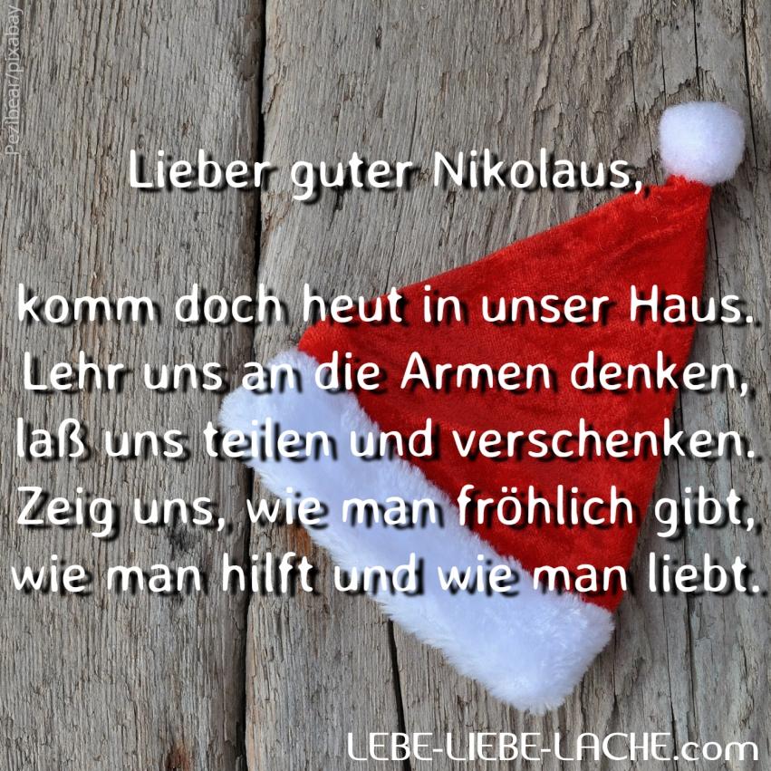 Spruchkarte mit Zitat Lieber guter Nikolaus komm doch